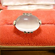 Glass Imitation Moonstone Ring in Rhodium Plated Mounting