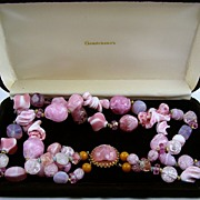 Stunning Hattie Carnegie Pink Art Glass Necklace