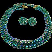 SALE Rare Vogue Aurora Borealis Peacock Colored Glass Bead Demi Parure