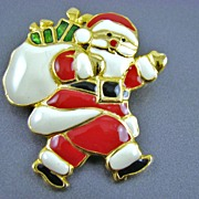 Santa Claus Enamel Brooch