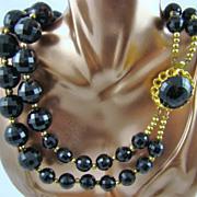 SALE Big Bold Black Double Strand Lucite Bead Necklace