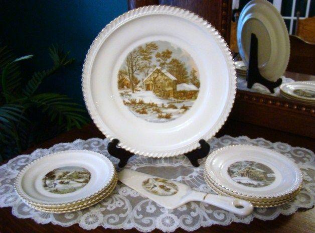 8-Pc Vintage Cake Set by Harkerware ~ Currier & Ives Homestead