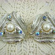 SALE Judy Lee Imitation Pearl and Aurora Borealis Rhinestone Earrings