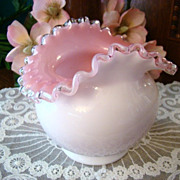 Early 1940s Fenton Cupped Oval Vase #203 in Peach Crest