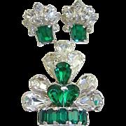 SALE 1940s Retro Eisenberg Emerald and Clear Rhinestone Fur Clip and Earrings