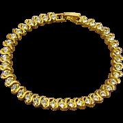 SALE 24Kt Gold Plated Rhinestone Tennis Bracelet