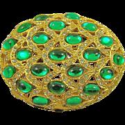 SALE Art Deco Style Emerald Glass & Rhinestone Brooch by Bellini