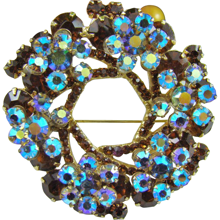 Large Two-Dimensional Delizza & Elster Juliana Brooch ~ Topaz and Aurora Borealis Blue