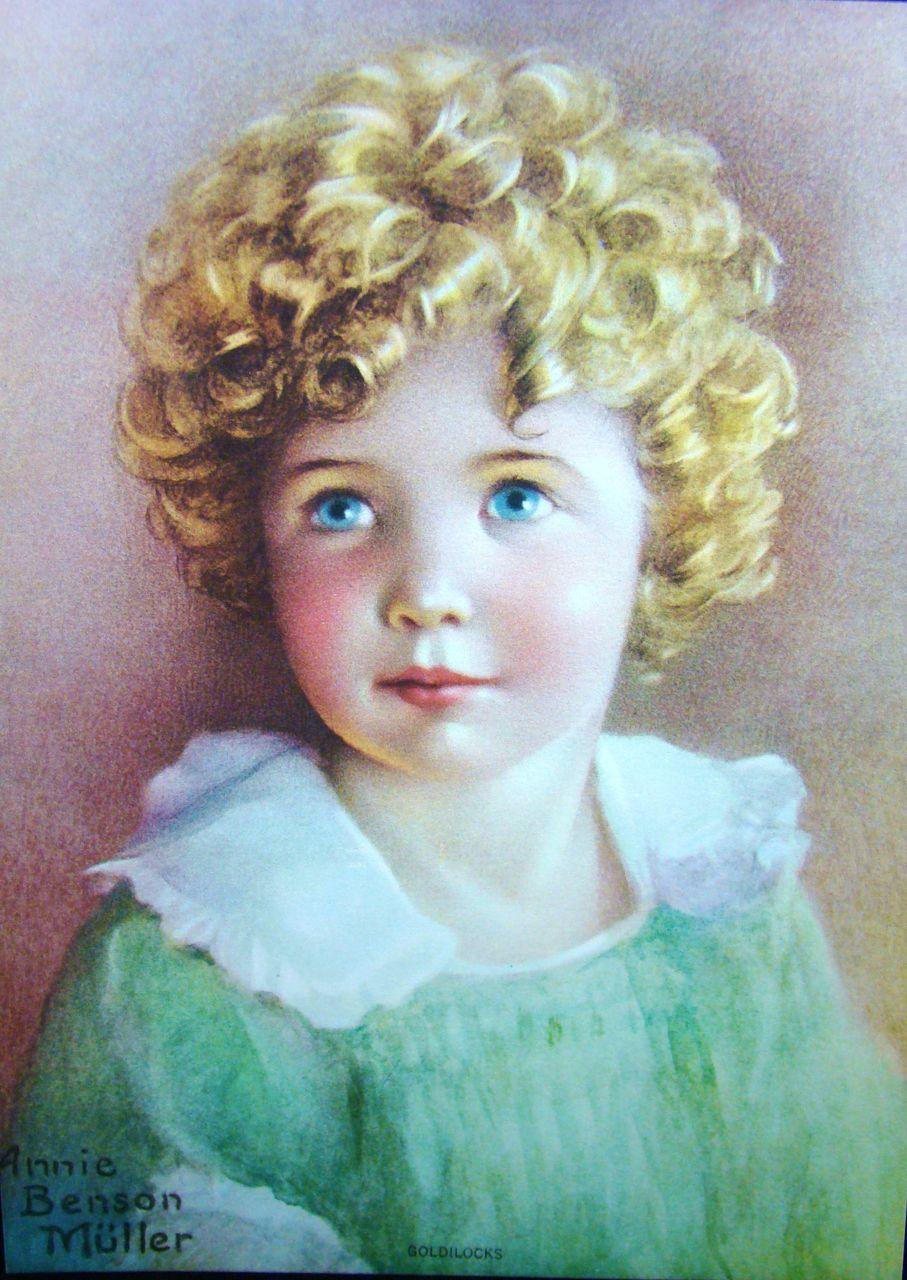 "Vintage Lithograph Entitled ""Goldilocks"" by Annie Benson Muller"
