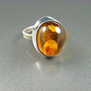 Sterling and Collet Set Honey Amber Ring
