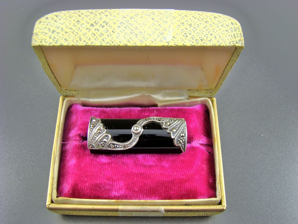 Art Deco Sterling, Marcasite and Black Glass Rectangular Brooch