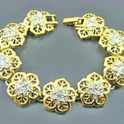 SALE Nina Ricci Gold Plated Clear Chaton Evening Bracelet