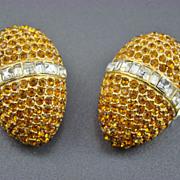SALE Vintage Heidi Daus for Jim Walters Rhinestone Egg Shaped Evening Earrings
