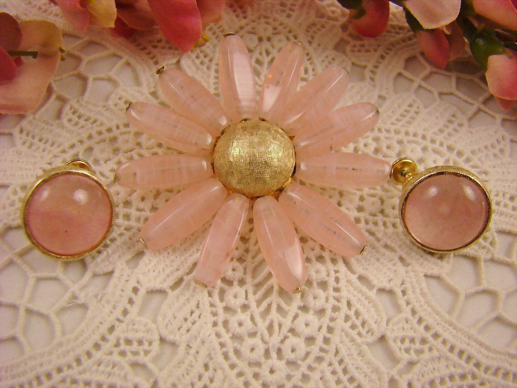 Rose Quartz Demi Parure ~ Accessocraft N.Y.C.