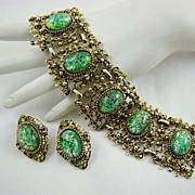 SALE Vintage Peacock Foil Glass Wide Panel Bracelet and Earrings
