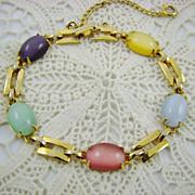 SALE Beautiful Pastel Moonglow Glass Cabochon Bracelet