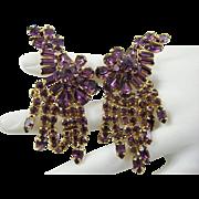 SALE Ann-Vien Rare Exquisite Amethyst Rhinestone Runway Earrings