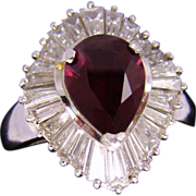 Estate Platinum Ballerina Dinner Ring Piccadilly Estate Diamonds Rhodolite Garnet