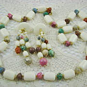 SALE White Lucite and Marbleized Bead Set