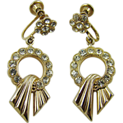 SALE Art Deco Rhodium Plated Rhinestone Dangle Earrings