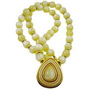 SALE Napier Beautiful Yellow Moonglow Bead Necklace with Pendant