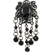 SALE Black Glass and Filigree Mourning Brooch