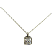 SALE Crystal Clear Quartz Chaton with Marcasites in Sterling