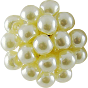SALE White Imitation Pearl Lucite Cluster Earrings