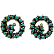 SALE Zuni Indian Turquoise Petit Point Sterling Earrings