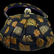 Black Satin Morris Moskowitz Handbag ~ Fall Geometric Design