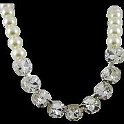 SALE Breathtaking Square Rhinestone and Imitation Pearl Necklace