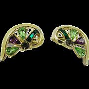 SALE Coro Half Heart Shaped Rhinestone Earrings