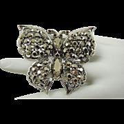 SALE Weiss Comet Argent Light Rhinestone Butterfly Brooch
