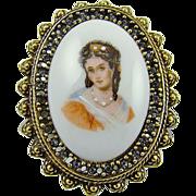 SALE Benedikt NY Porcelain Victorian Style Portrait Brooch with Rhinestones