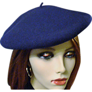 Hoquy France Wool Navy Beret ~ Mint
