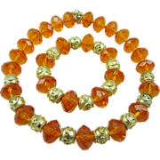 SALE Magnificent Orange Faceted Glass Necklace & Bracelet with Gold Tone by George