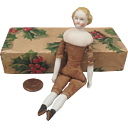 1860s German Bisque Blond Flat Top Doll House Doll 4.75 inch
