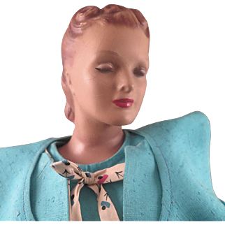 24 inch Composition 1940s Countertop Mannequin or Manikin Doll with Original Clothes