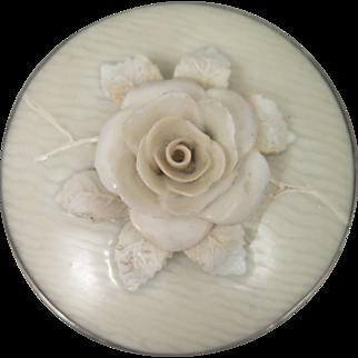 Antique 3D Porcelain Rose Brooch