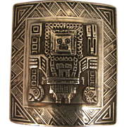 SALE Vintage 900 Silver Peru Aztec God Brooch
