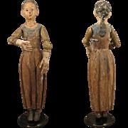 "c.1800 European Jointed Wood Santos Creche Figure Doll 17.5"""