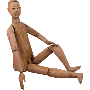 """16.5"""" Antique Chinese Jointed Wood Doll"""