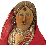 """13"""" Antique Cloth Bride Doll From India"""