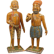 """Pair 12"""" Antique Carved Wood Men Doll Figures from India"""