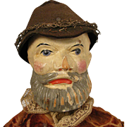 """19th c. Jointed Wood Man Puppet Doll 16"""""""