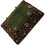 Early 1900s Chinese Export Nephrite Jade Brooch