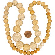"22"" Antique Carved Meerschaum Bead Necklace"