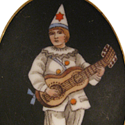 Antique Pierrot Clown Porcelain Brooch