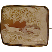 Dogs Chasing Deer Scenic Victorian Shell Cameo Brooch