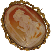 SALE Antique Cameo Brooch of 2 Women Kneeling in Prayer